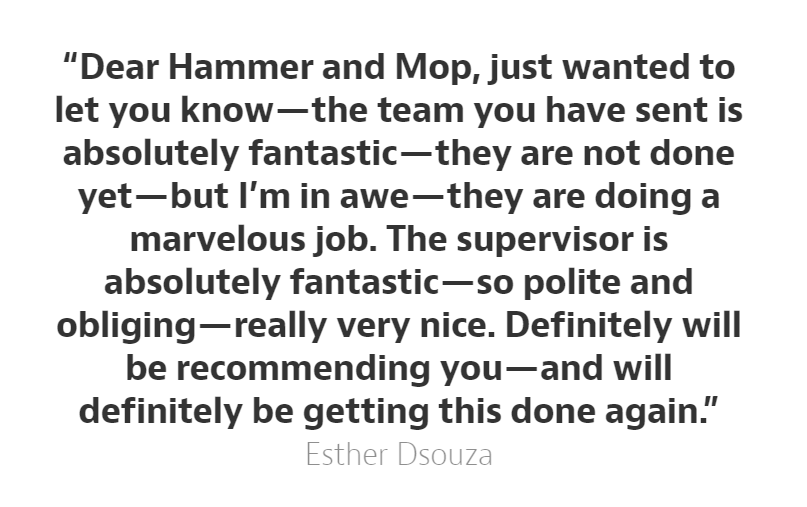 Hammer and Mop shares how a home cleaning session for Esther D'Souza turned out to be an amazing experience for all of us, thanks to her glowing reviews!