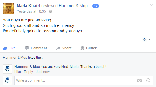 Hammer and Mop shares how performing a home cleaning session in Mumbai for Maria Khatri was an absolute delight. Keen to serve her again.